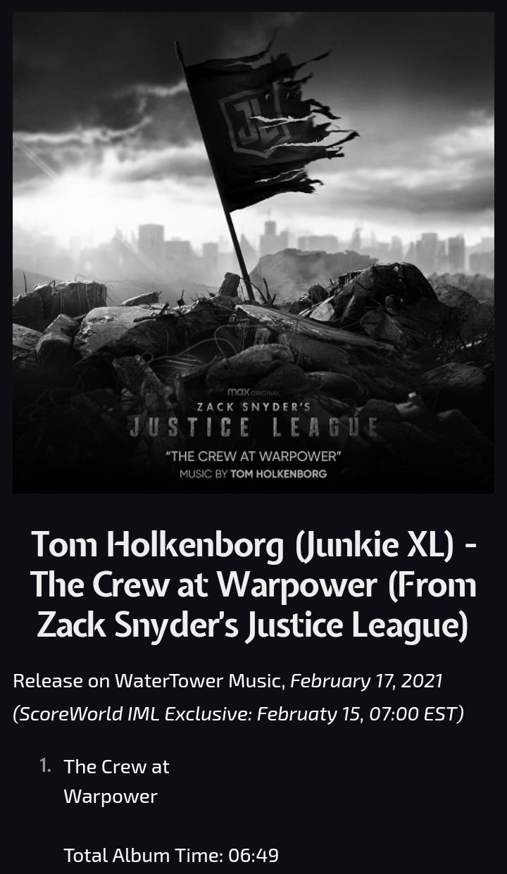 Portada y detalles de The Crew at Warpower (from Zack Snyder's Justice League), compuesto por Tom Holkenborg (Junkie XL). Imagen: DC_Cinematic Reddit