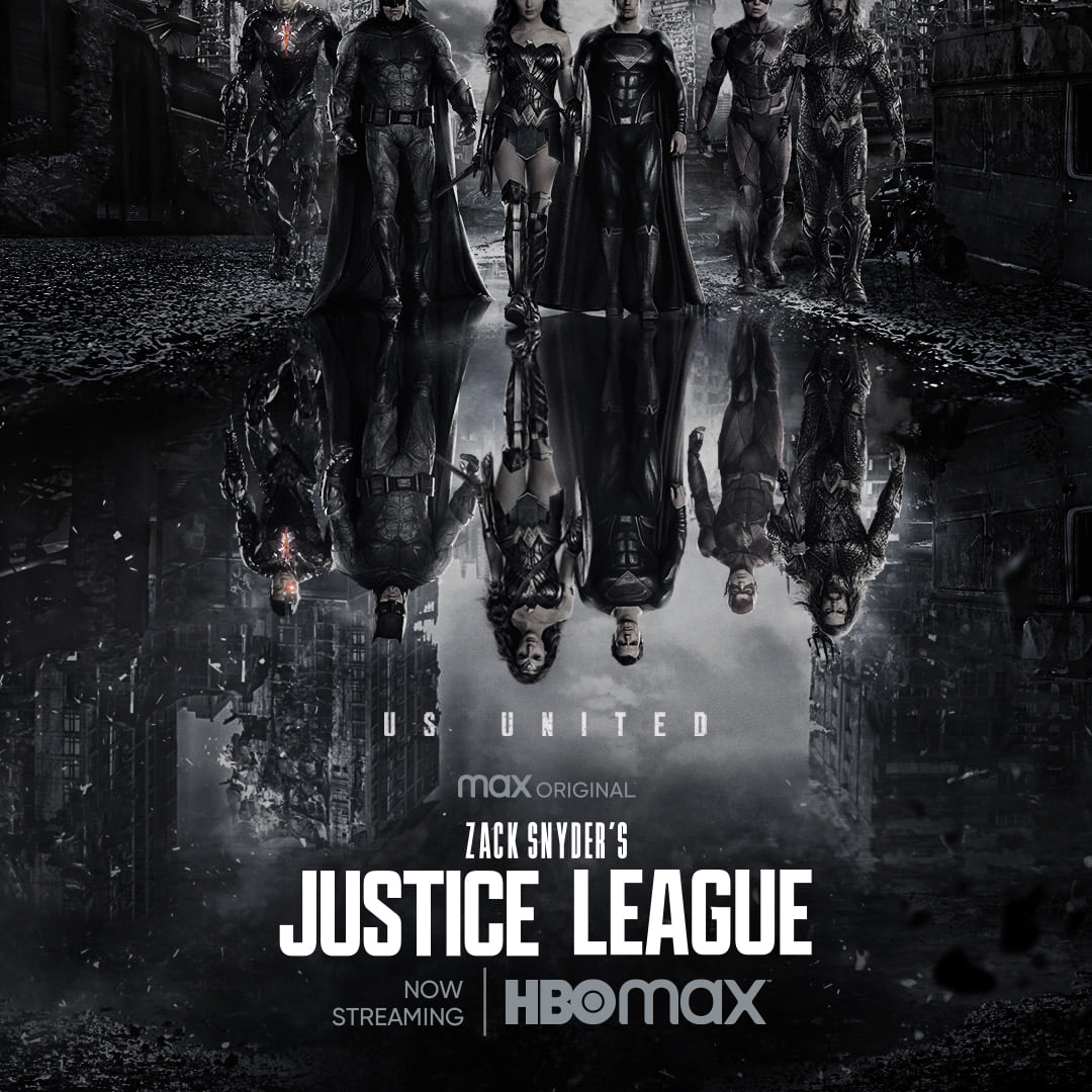 Cyborg (Ray Fisher), Batman (Ben Affleck), Wonder Woman (Gal Gadot), Superman (Henry Cavill), Flash (Ezra Miller) y Aquaman (Jason Momoa) en un póster de Zack Snyder's Justice League (2021). Imagen: Zack Snyder's Justice League Facebook.