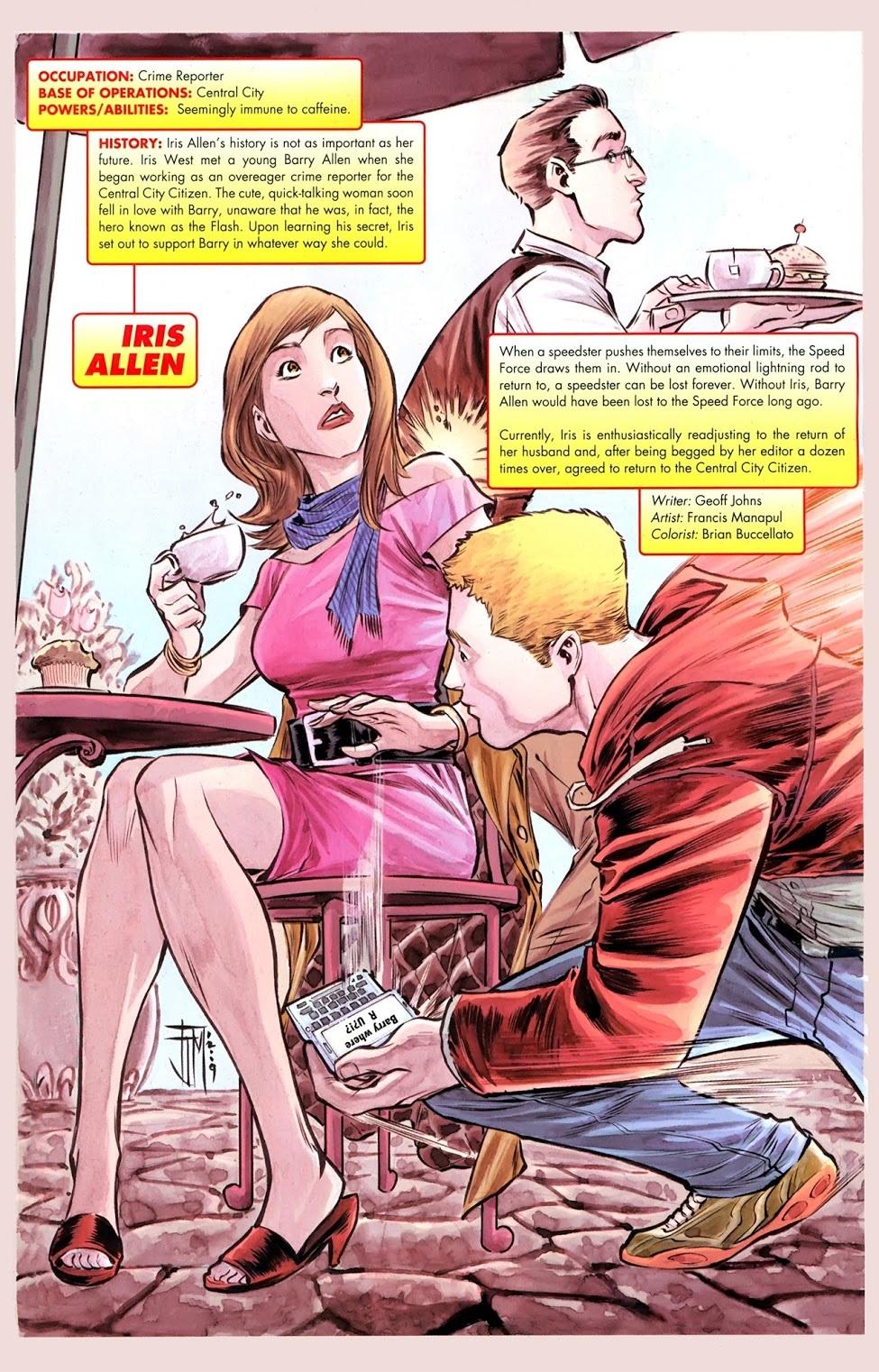 Iris Ann West Allen y Barry Allen/Flash en The Flash Secret Files & Origins #1 (noviembre de 2010). Arte por Francis Manapul. Imagen: viewcomics.me