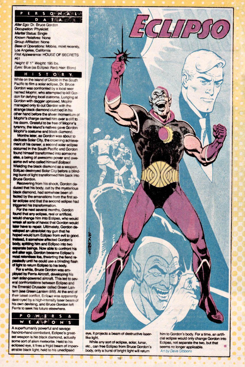 Ficha biográfica de Eclipso (Bruce Gordon). Arte por Dave Gibbons. Imagen: pinterest.com