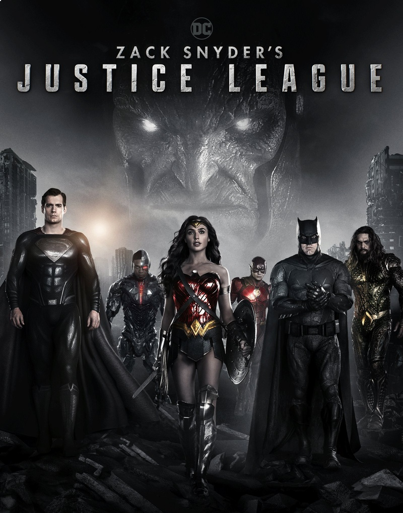 Superman (Henry Cavill), Cyborg (Ray Fisher), Wonder Woman (Gal Gadot), Flash (Ezra Miller), Batman (Ben Affleck), Aquaman (Jason Momoa) y Darkseid (Ray Porter) en un póster de Zack Snyder's Justice League (2021). Imagen: thedirect.com