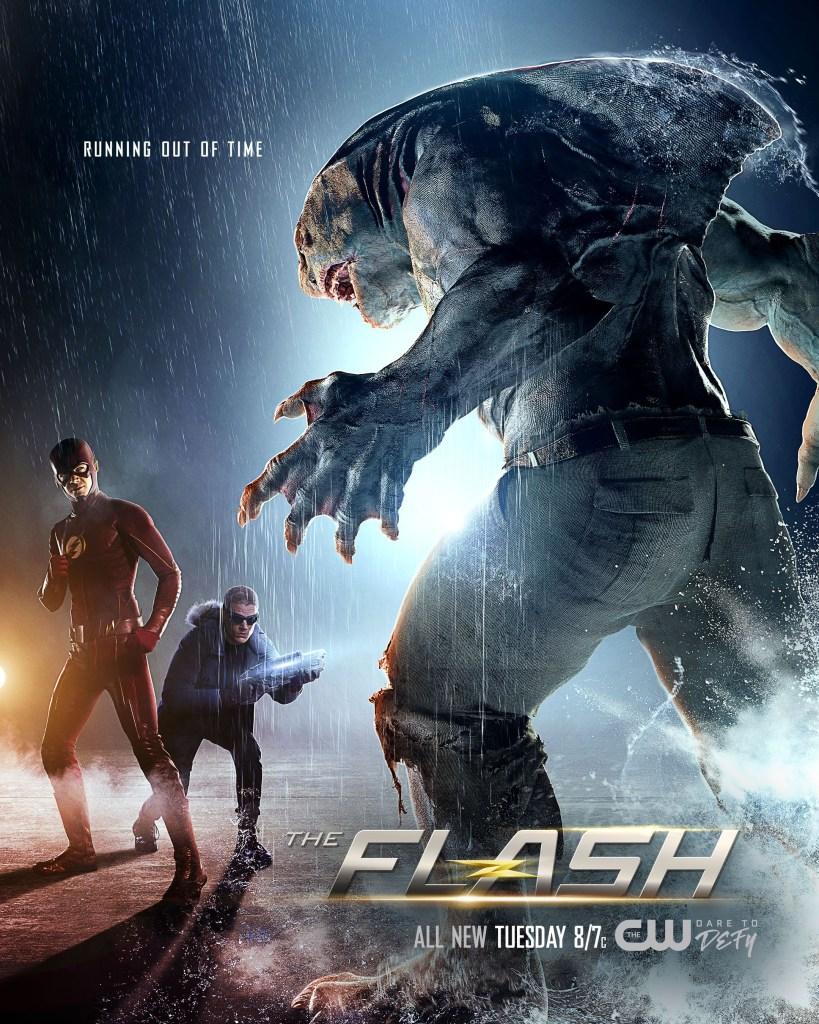 Flash/Barry Allen (Grant Gustin) y Captain Cold/Leonard Snart (Wentworth Miller) vs. King Shark (Dan Payne/voz de David Hayter) en un póster de Infantino Street (16 de mayo de 2017), el episodio 322 de The Flash. Imagen: impawards.com