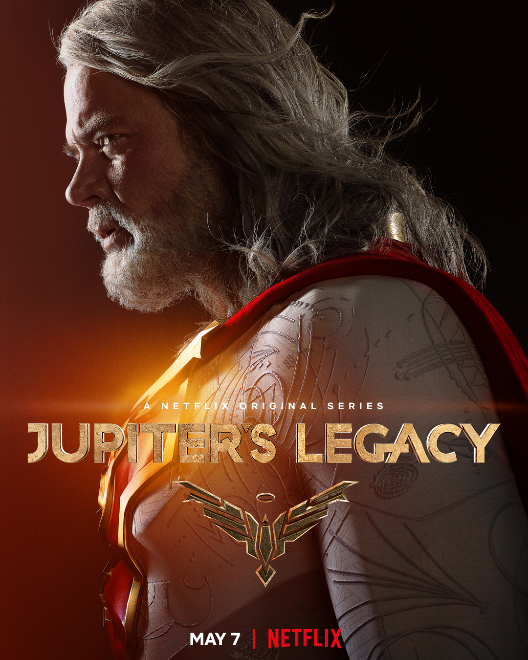 Sheldon Sampson/The Utopian (Josh Duhamel) en un póster de Jupiter's Legacy. Imagen: Millarworld Twitter (@mrmarkmillar).