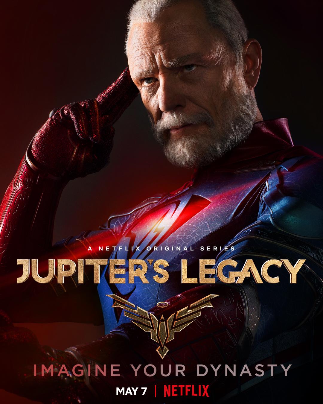 Walter Sampson/Brainwave (Ben Daniels) en un póster de Jupiter's Legacy. Imagen: Millarworld Twitter (@mrmarkmillar).