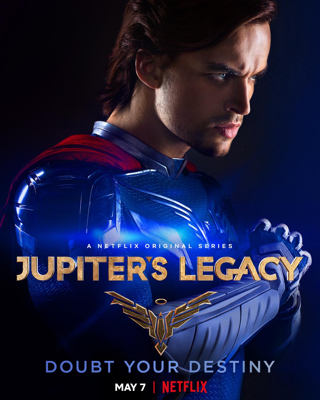 Brandon Sampson/Paragon (Andrew Horton) en un póster de Jupiter's Legacy. Imagen: Millarworld Twitter (@mrmarkmillar).