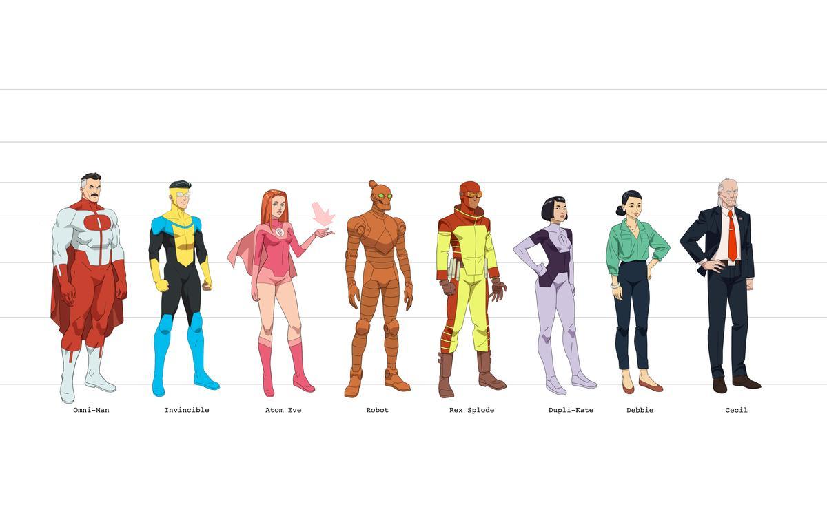 Omni-Man/Nolan Grayson (voz de J.K. Simmons), Invincible/Mark Grayson (voz de Steve Yeun), Atom Eve/Samantha Eve Wilkins (voz de Gillian Jacobs), Robot (voz de Zachary Quinto), Rex Splode/Rex Sloan (voz de Jason Mantzoukas), Dupli-Kate/Kate Cha (voz de Malese Jow), Debbie Grayson (voz de Sandra Oh) y Cecil Stedman (voz de Walton Goggins) en diseños para Invincible. Imagen: urbanactioncinema.com