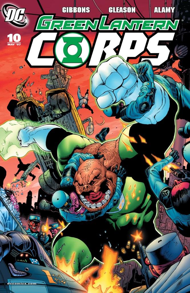 Kilowog en la portada de Green Lantern Corps #10 (mayo de 2007). Arte por Patrick Gleason y Rodney Ramos. Imagen: zipcomic.com