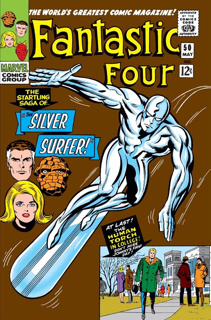 Silver Surfer/Norrin Radd en la portada de The Fantastic Four #50 (mayo de 1966). Imagen: zipcomic.com