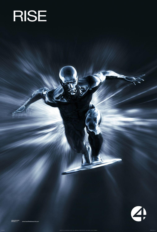 Silver Surfer/Norrin Radd (Doug Jones/Laurence Fishburne) en un póster de Fantastic Four: Rise of the Silver Surfer (2007). Imagen: impawards.com