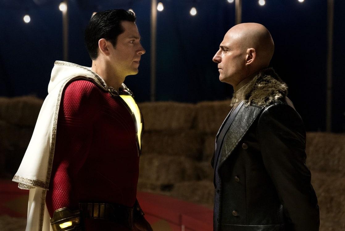 Shazam (Zachary Levi) y el Dr. Thaddeus Sivana (Mark Strong) en Shazam! (2019). Imagen: listal.com