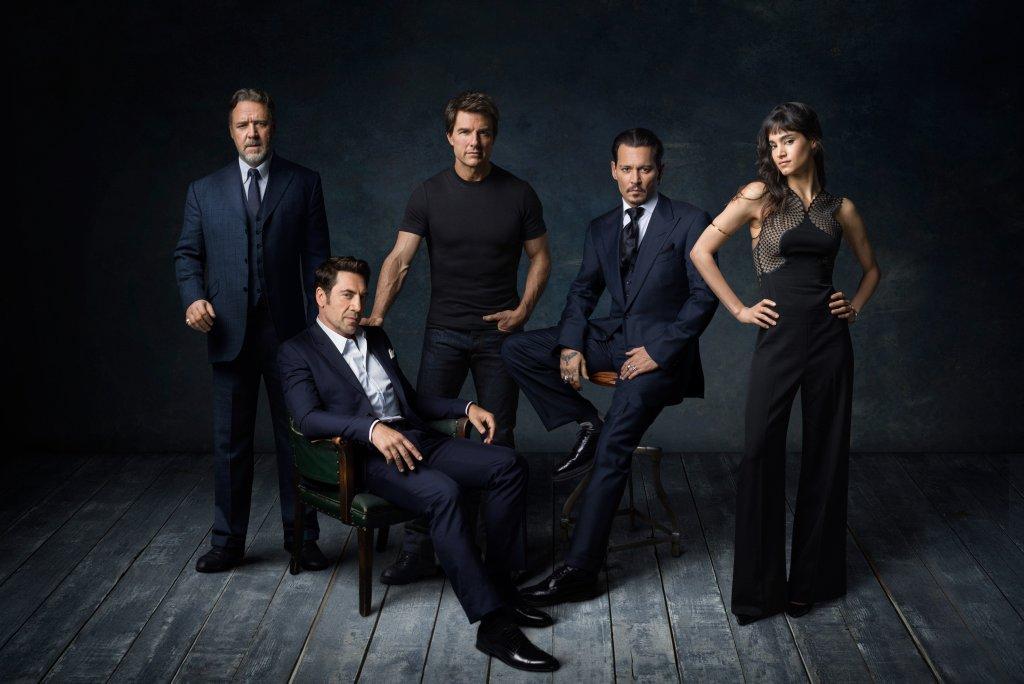 Los actores del Dark Universe: Russell Crowe, Javier Bardem, Tom Cruise, Johnny Depp y Sofia Boutella. Imagen: Dark Universe Twitter (@darkuniverse).