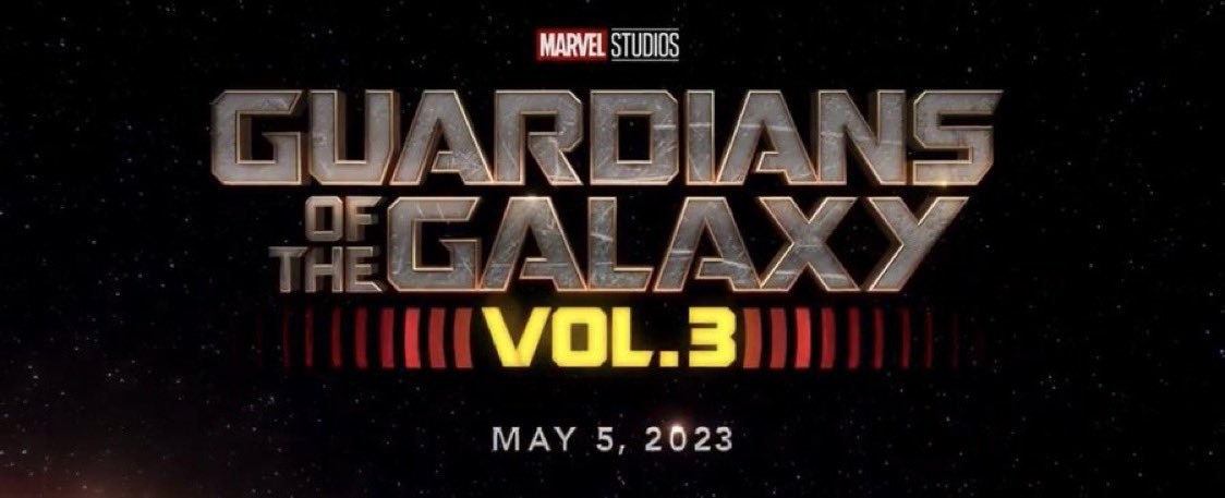 Logotipo y fecha de estreno de Guardians of the Galaxy Vol. 3 (2023). Imagen: James Gunn Twitter (@JamesGunn).