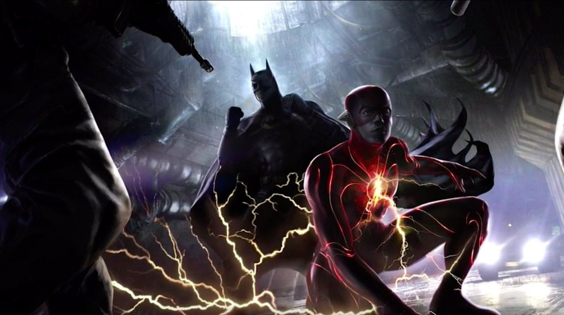 Batman/Bruce Wayne (Michael Keaton) y Flash/Barry Allen (Ezra Miller) en arte conceptual de The Flash (2022). Imagen: listal.com