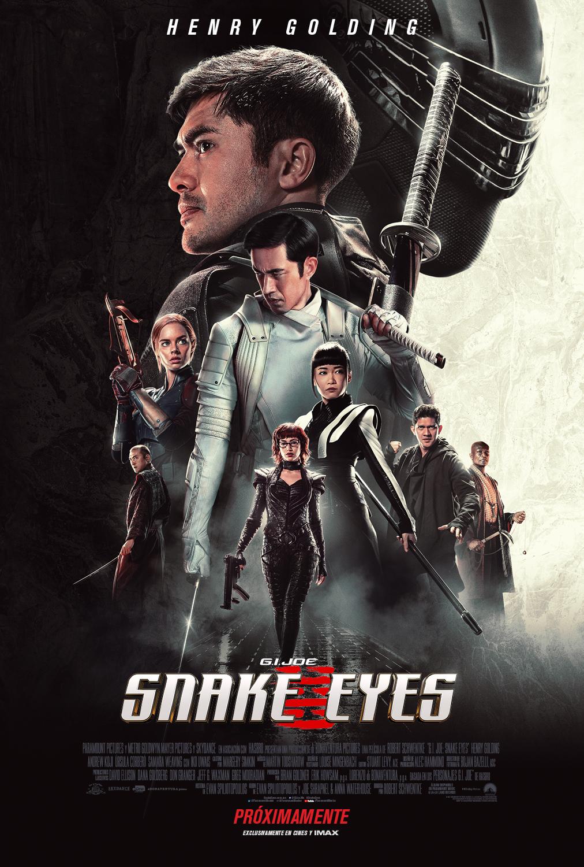Snake Eyes (Henry Golding) y los personajes principales en un póster en español de Snake Eyes: G.I. Joe Origins (2021). Imagen: Paramount Pictures Mexico Twitter (@ParamountMexico).