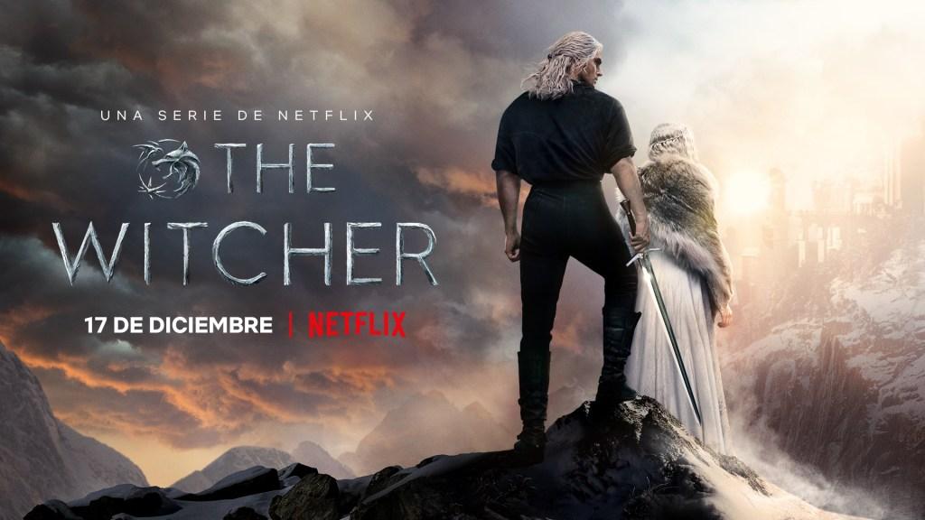 Geralt de Rivia (Henry Cavill) y Ciri de Cintra (Freya Allan) en un póster en español de la temporada 2 de The Witcher. Imagen: Netflix Latinoamérica Twitter (@NetflixLAT).