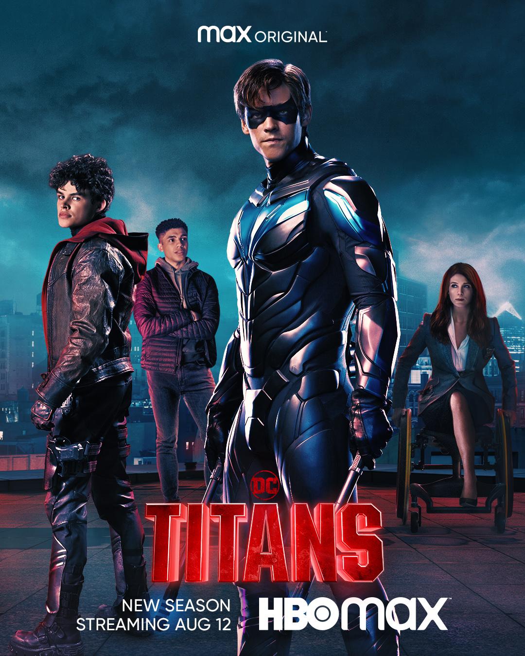Jason Todd/Red Hood (Curran Walters), Tim Drake (Jay Lycurgo), Dick Grayson/Nightwing (Brenton Thwaites) y Barbara Gordon (Savannah Welch) en un póster promocional de la temporada 3 de Titans. Imagen: DC Titans on Max Twitter (@DCTitans).