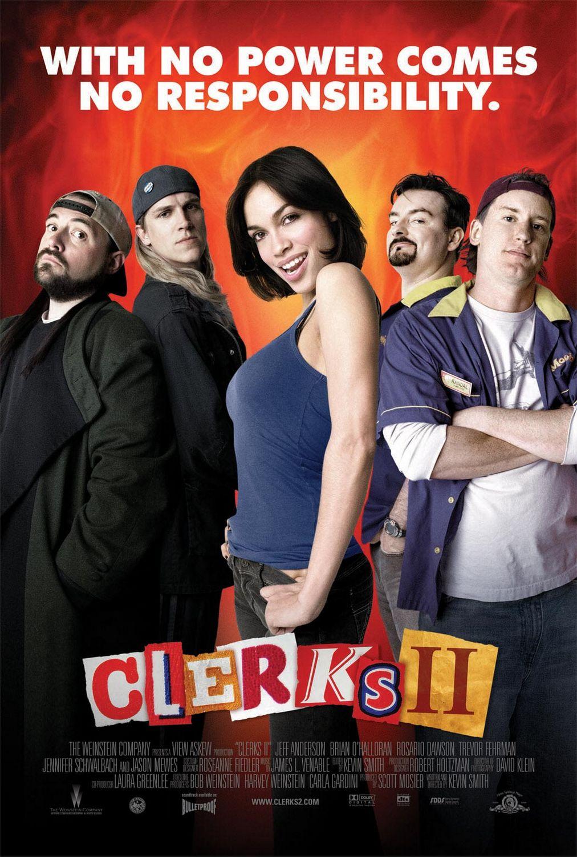 Silent Bob (Kevin Smith), Jay (Jason Mewes), Becky Scott (Rosario Dawson), Dante Hicks (Brian O'Halloran) y Randal Graves (Jeff Anderson) en un póster de Clerks II (2006). Imagen: impawards.com