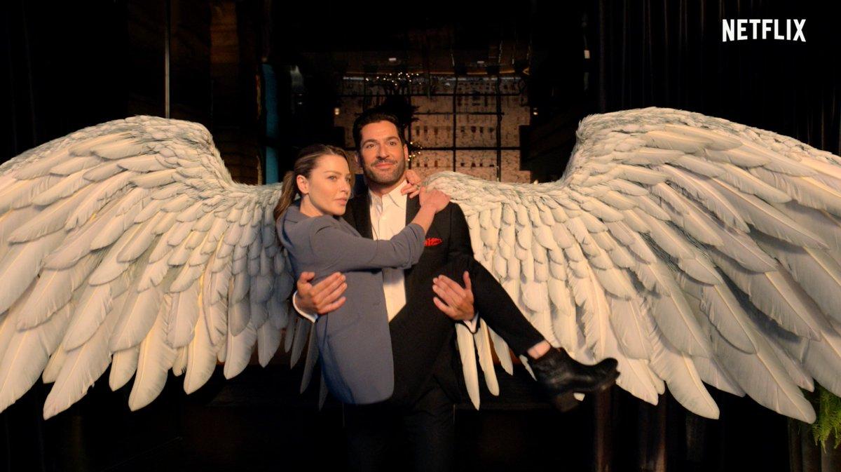 Lucifer Morningstar (Tom Ellis) y la Detective Chloe Decker (Lauren German) en la temporada 6 de Lucifer. Imagen: Netflix Geeked Twitter (@NetflixGeeked).