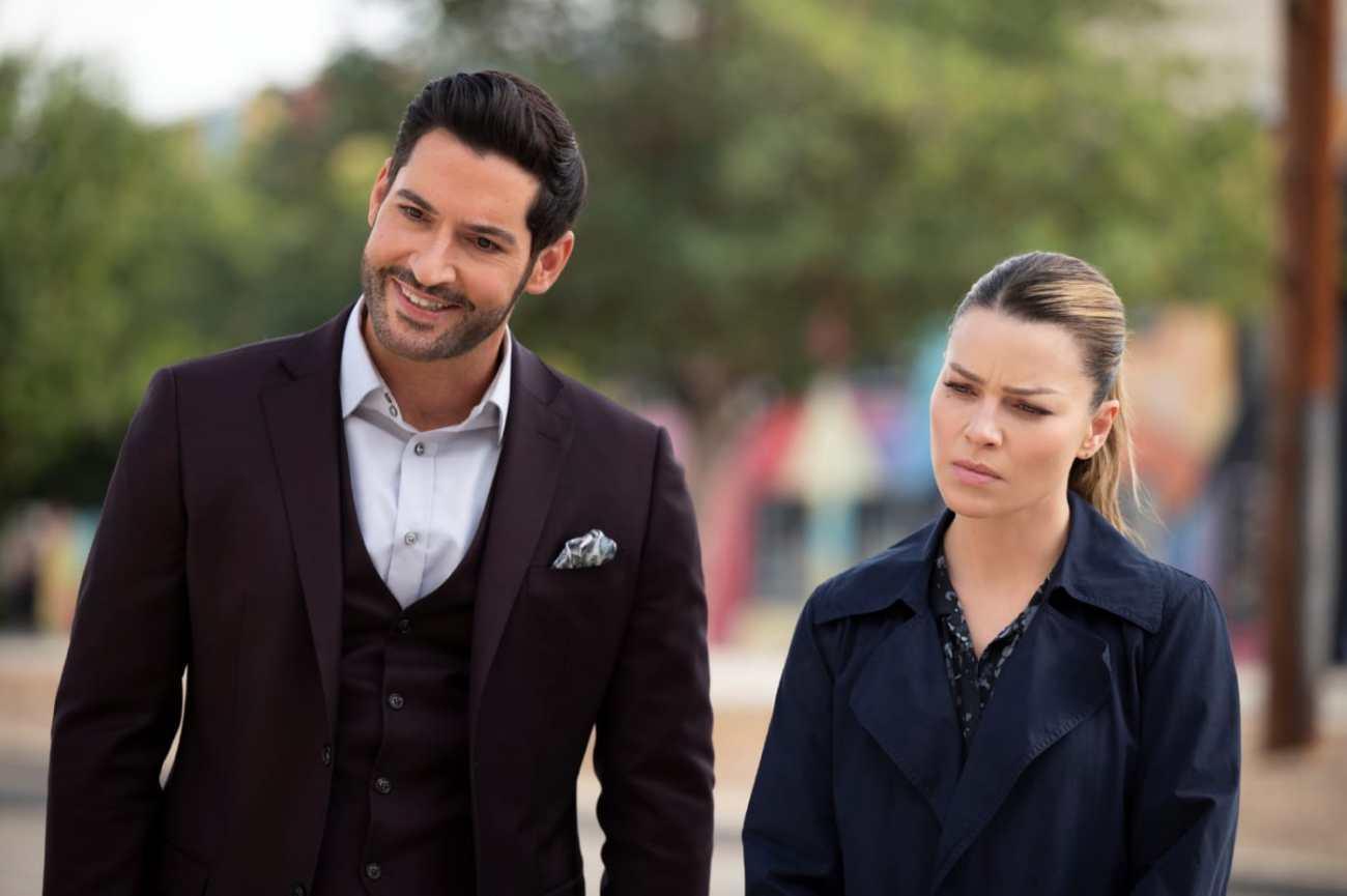 Lucifer Morningstar (Tom Ellis) y la Detective Chloe Decker (Lauren German) en el episodio 605 de Lucifer. Imagen: John P. Fleenor/Netflix