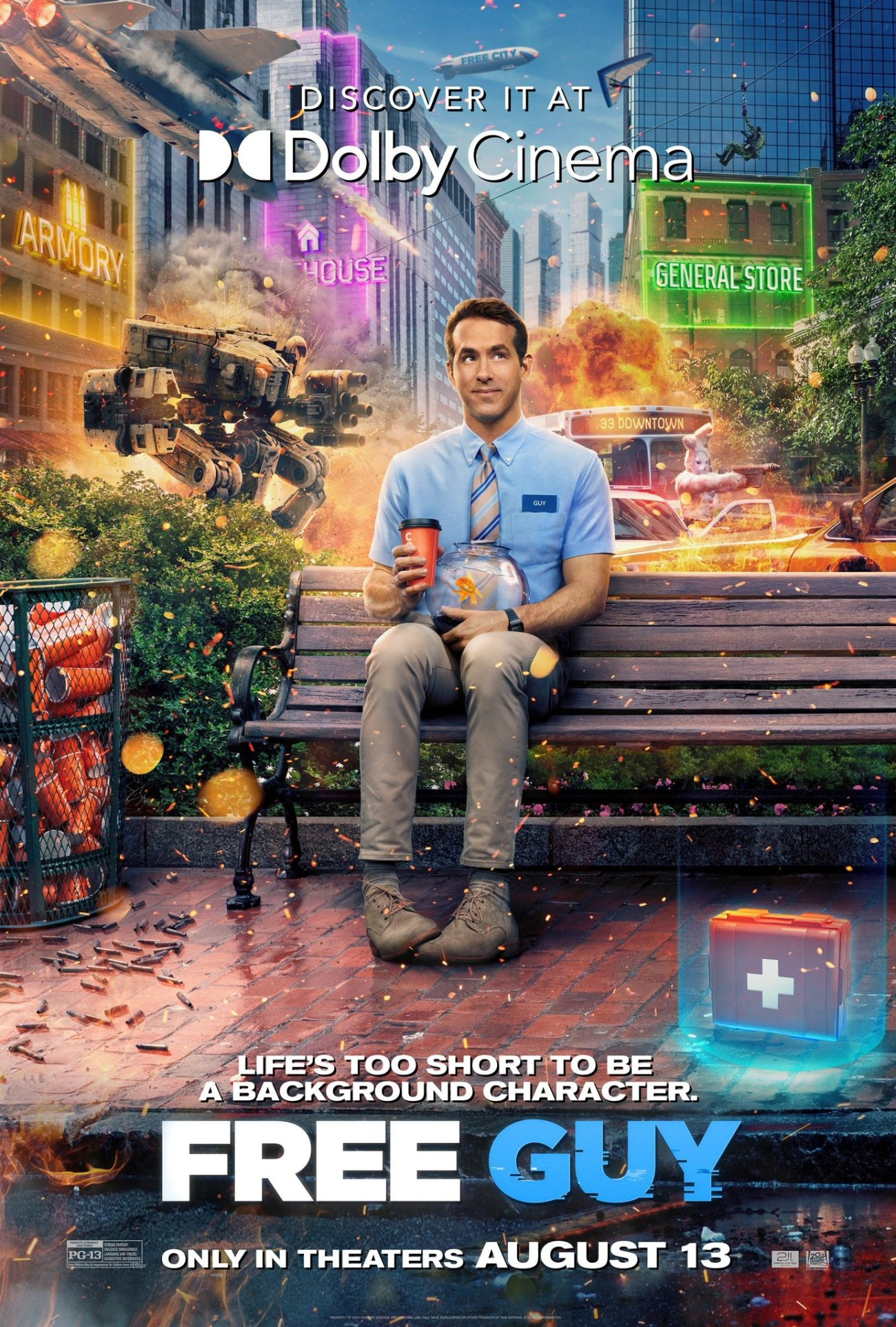 Póster Dolby Cinema de Free Guy (2021). Imagen: impawards.com