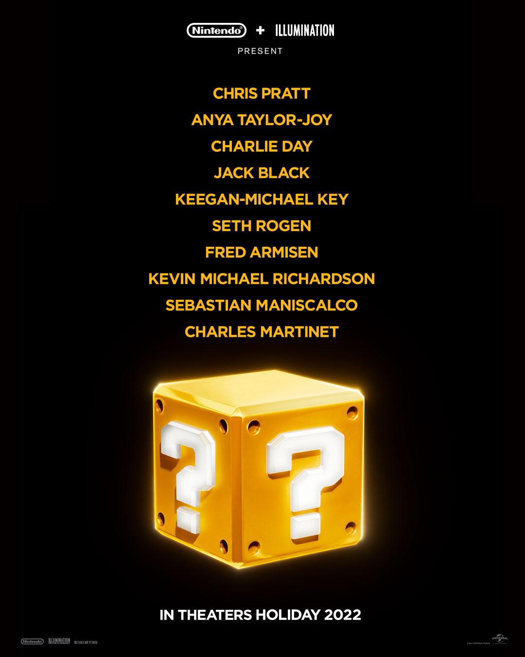El elenco de voces para la película animada de Super Mario Bros. (2022). Imagen: Nintendo of America Twitter (@NintendoAmerica).