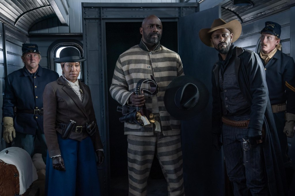 Trudy Smith (Regina King), Rufus Buck (Idris Elba) y Cherokee Bill (LaKeith Stanfield) en The Harder They Fall (2021). Imagen: David Lee/Netflix