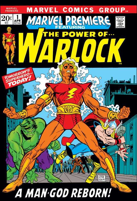 Adam Warlock en la portada de Marvel Premiere #1 (abril de 1972). Arte por Gil Kane (1926-2000) y Dan Adkins (1937-2013). Imagen: Comic Vine