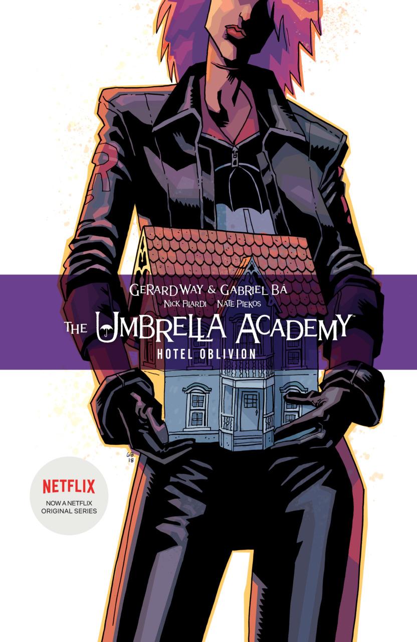 Portada del tomo recopilatorio The Umbrella Academy: Hotel Oblivion (agosto de 2019). Imagen: Comic Vine