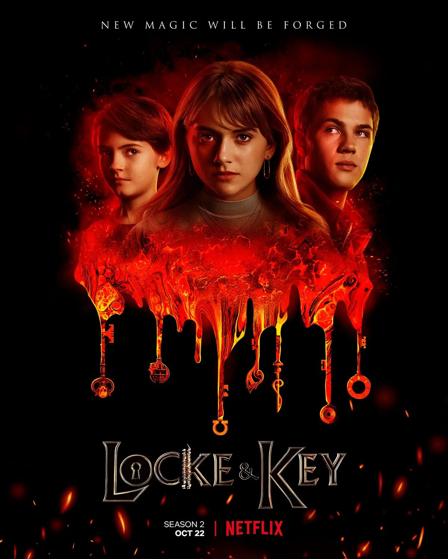 Bode Locke (Jackson Robert Scott), Kinsey Locke (Emilia Locke) y  Tyler Locke (Connor Jessup) en un póster promocional de la temporada 2 de Locke & Key. Imagen: impawards.com
