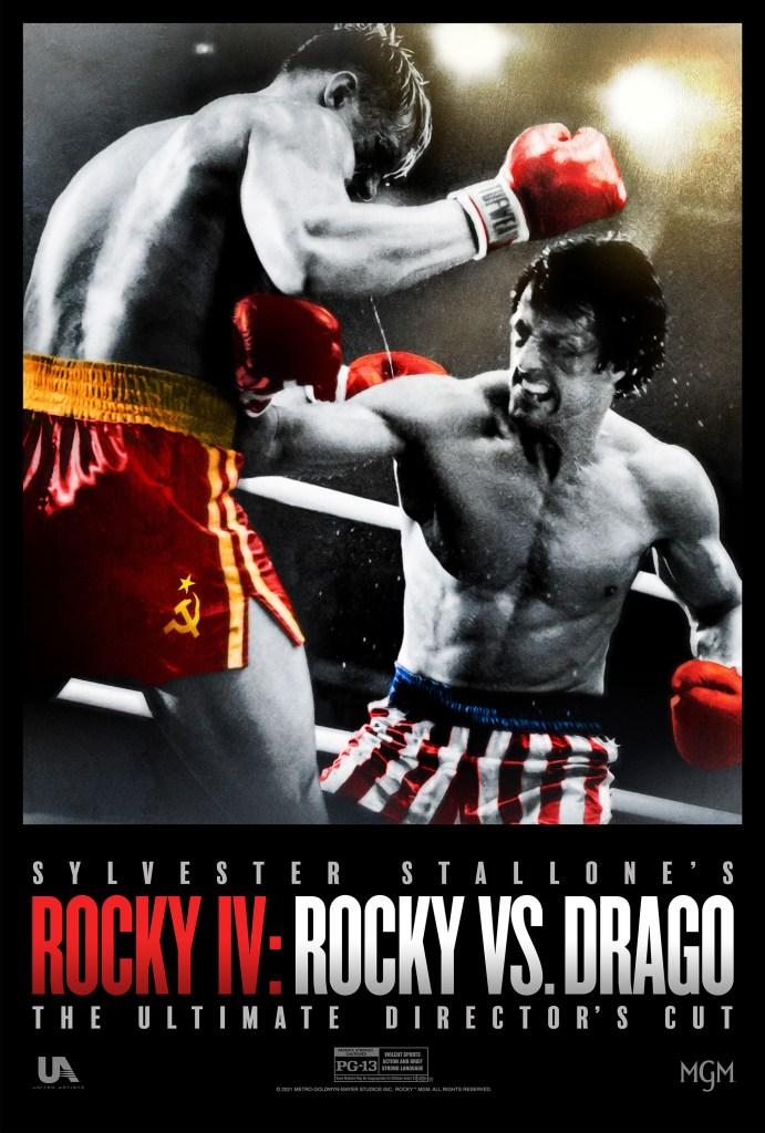 "Rocky Balboa vs. Ivan Drago (Dolph Lundgren) en un póster del ""Ultimate Director's Cut"" de Rocky IV (1985). Imagen: impawards.com"