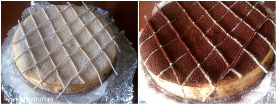 Pentru decor, am pudrat mai intai cheesecake-ul cu zahar praf, am pus deasupra cateva bucati de sfoara in forma de grilaj, apoi l-am pudrat cu cacao. Am indepartat sforile si am definitivat decorul cucateva bomboane in forma de boabe de cafea.