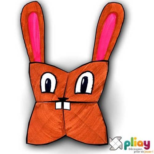 Marionnette Lapin Cocotte en papier à imprimer - Les loisirs créatifs Pliay