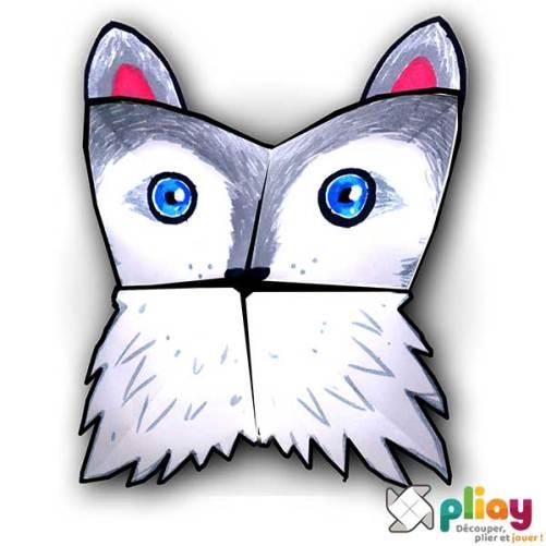 Marionnette Loup Cocotte en papier à imprimer - Les loisirs créatifs Pliay