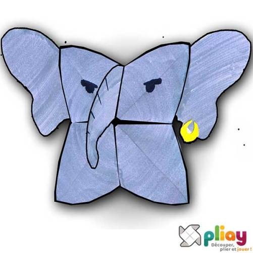 Marionnette Éléphant Cocotte en papier à imprimer - Les loisirs créatifs Pliay