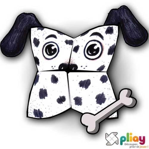 Marionnette Dalmatien Cocotte en papier à imprimer - Les loisirs créatifs Pliay