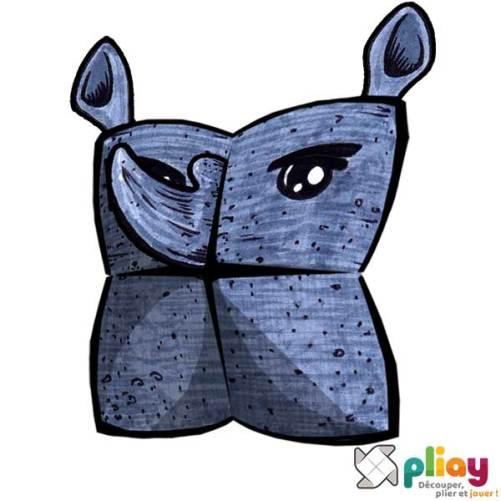 Marionnette Rhinocéros Cocotte en papier à imprimer - Les loisirs créatifs Pliay