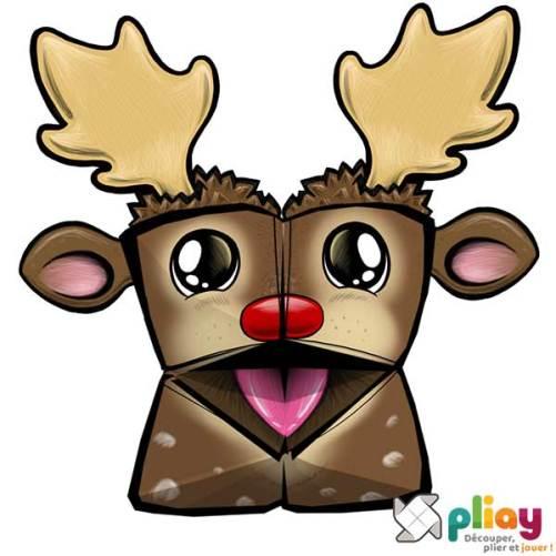 Marionnette Renne de Noël Cocotte en papier à imprimer - Les loisirs créatifs Pliay