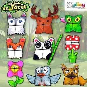 Marionnettes en papier des animaux de la forêt