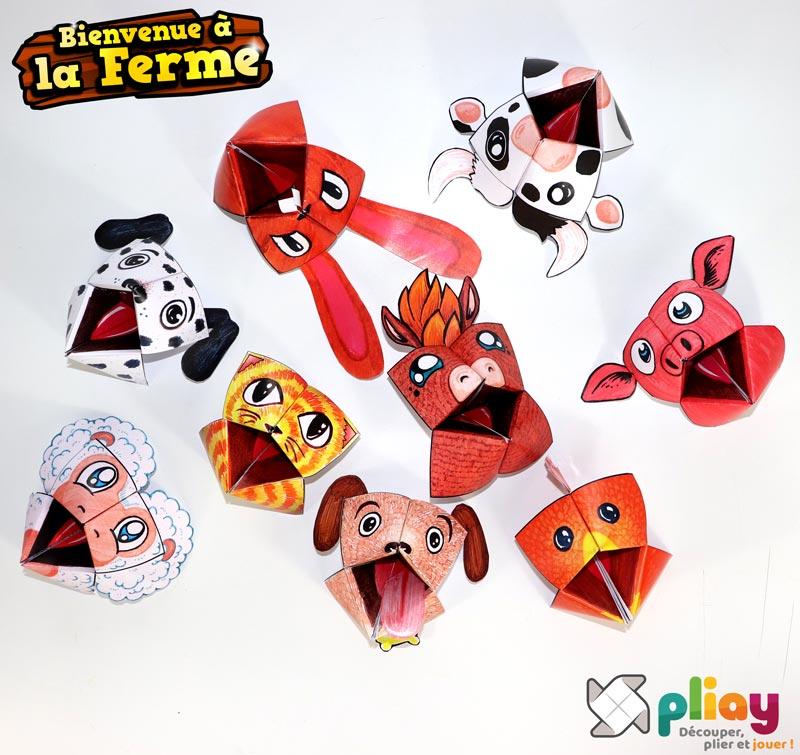 """Les marionnettes pliées du pack """"Bienvenue à la Ferme"""" de Pliay"""