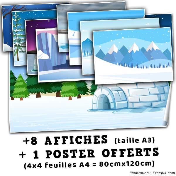 Offert dans ce pack : 8 affiches de taille A3 + 1 poster de 80x120cm