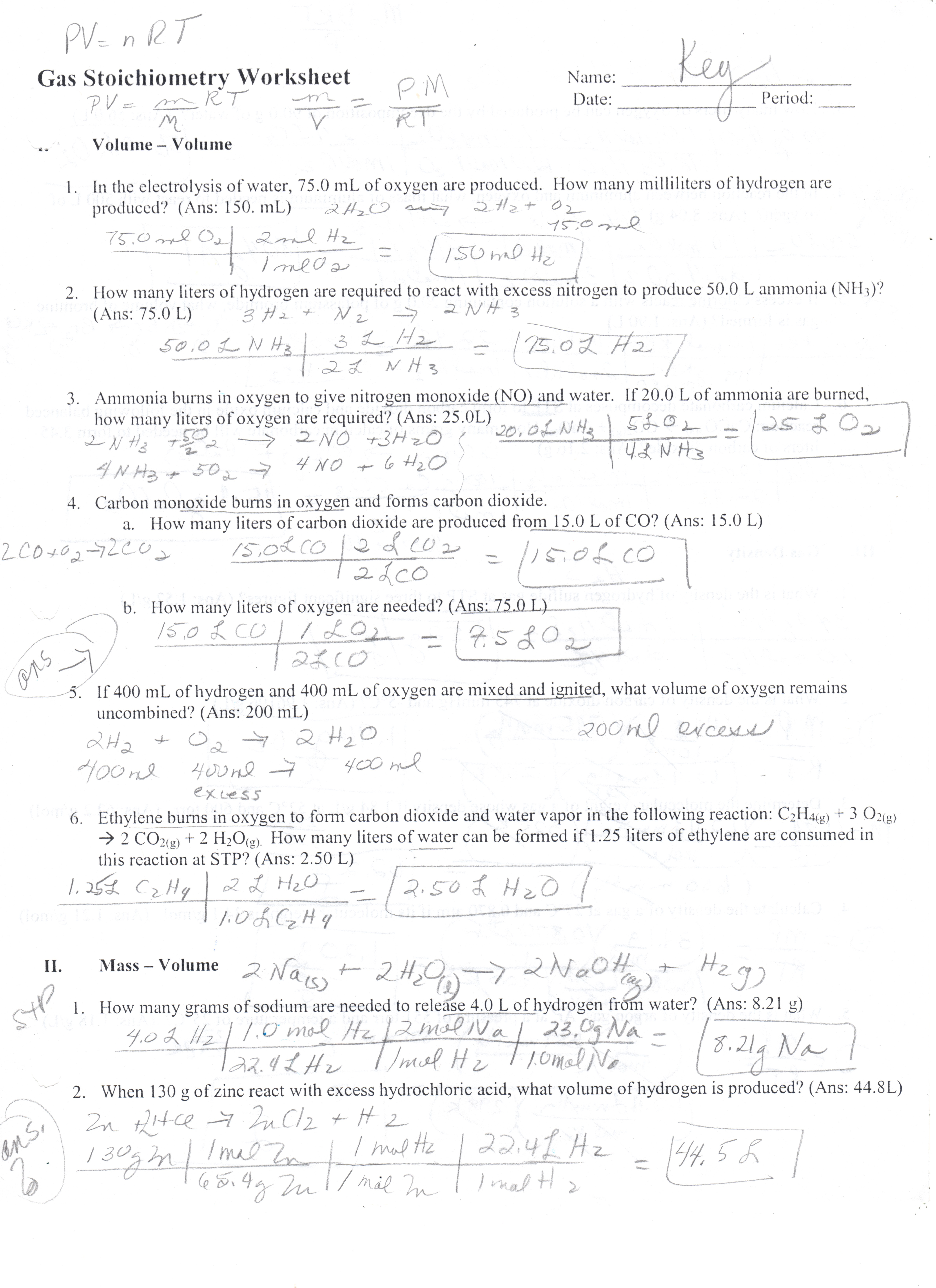 Gas Laws Worksheet 1