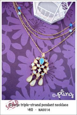 NA0014 - George triple-strand pendant necklace