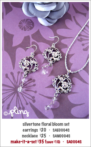 SA0004S - silvertone floral bloom set