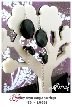 EA0069 - sexy oynx dangle earrings
