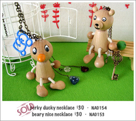 NA0153 - perky ducky necklace; NA0154 - beary nice necklace