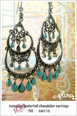EA0110 - turquoise waterfall chandelier earrings