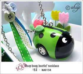 "NA0134 - ""Beep, beep, beetle!"" necklace"