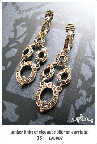 EA0087 - amber links of elegance clip-on earrings
