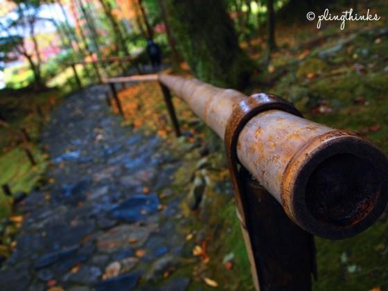 Bamboo Handrails Stairs Moss Garden - Kyoto