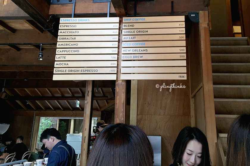 Blue Bottle Kyoto Cafe Menu